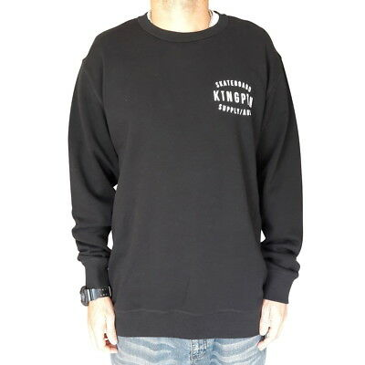KINGPIN Skate Supply Crew Retro Black Skateboard Jumper Sweater Pullover
