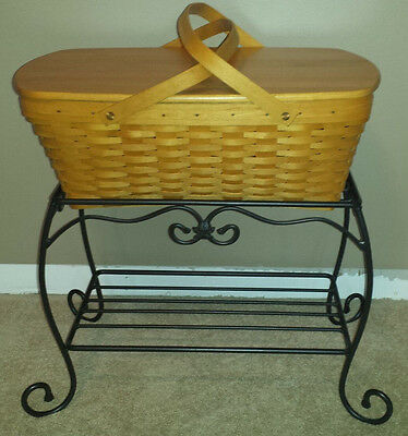Longaberger wrought iron treasure stand with basket and wooden shelf