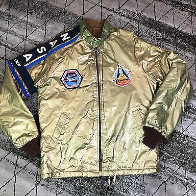 Vtg 70's 80's Collectors WATKINS Jacket Gold Puffer Nasa Crew Size M Medium