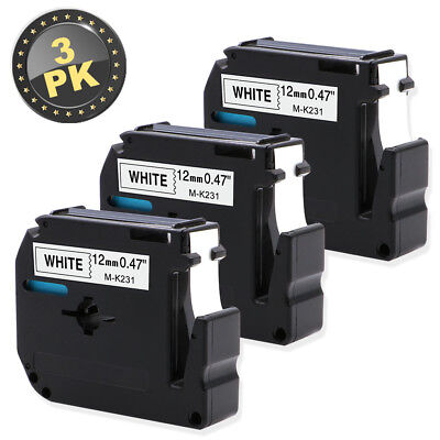 3PK  MK231 Compatible for Brother P-touch Label Black/White 12mm M Tape M-K231