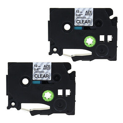 2PK TZe 131 Compatible for Brother TZ131 Black on Clear P-Touch 1/2'' Label Tape