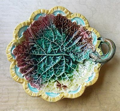 Antique Victorian Multicoloured Majolica Plate- Cabbage Leaf With Butterflies