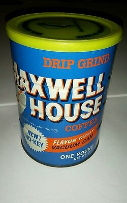 VINTAGE MAXWELL HOUSE One Pound Tin Coffee Can Sealed Full Unused New 70s 80s