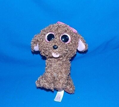 2014 Ty Beanie Boos Boo MADDIE brown puppy dog pink bow stuffed plush 6""