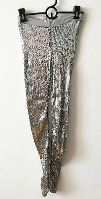 Women's Elastic Silver Sequined Legging, Dance Costume, Small, waist band