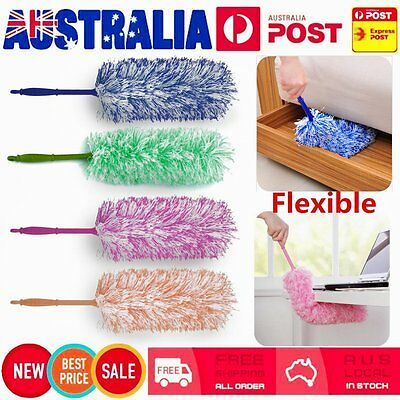 Soft Microfiber Flexible Feather Duster House Home Room Cleaner Handle OA