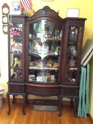 antique china cabinet with curved glass door front and glass sides