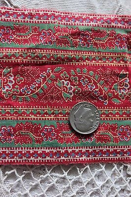 Lovely French Antique c1840 Cotton Blocked Printed Turkey Red Trim~Quilts,Dolls