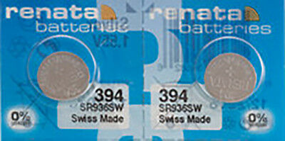 2 x Renata 394 Watch Batteries, 0% MERCURY equivalent SR936SW, Swiss Made