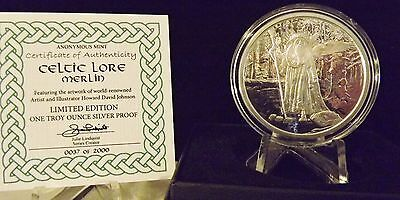 Brand New! CELTIC LORE Series : Inaugural Release : MERLIN : One Oz .999 Silver