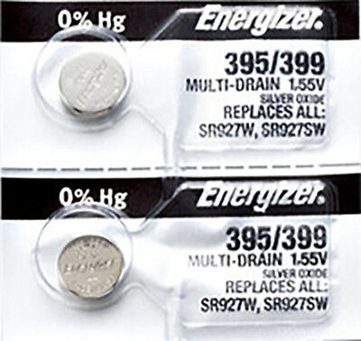 2 x Energizer 395 Watch Batteries, 0% MERCURY equivilate SR927SW