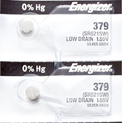 2 x Energizer 379 Watch Batteries, 0% MERCURY equivilate SR521SW