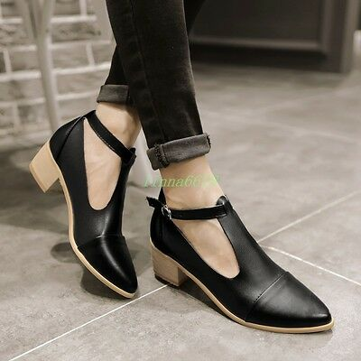 Womens Pointed Toe Mid Chunky Block Heels T-Strap Buckle Fashion Shoes