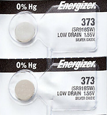 2 x Energizer 373 Watch Batteries, 0% MERCURY equivilate SR916SW