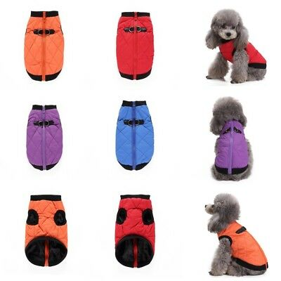 Small Pet Dog Winter Warm Coat Puppy Cat Padded Jacket Zipper Clothes Costume