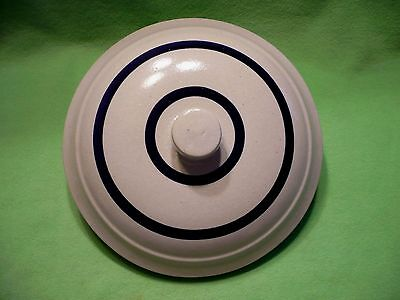 "Vintage stoneware CROCK LID with saturated blue lines. 10.25"" outer. 9.25"" inner"