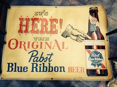 Rare Vintage  PABST BLUE RIBBON Banner- 52 x 42 1/2