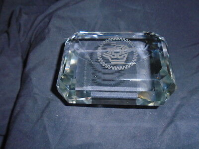 TIFFANY & Co. EMERALD CUT CRYSTAL PAPERWEIGHT NAUTICAL SHIP LOGO MAYFAIR