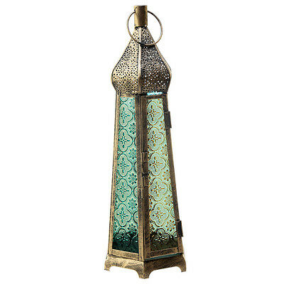 38CM Domed Glass Bronze Effect Antique Moroccan Style Standing Lantern