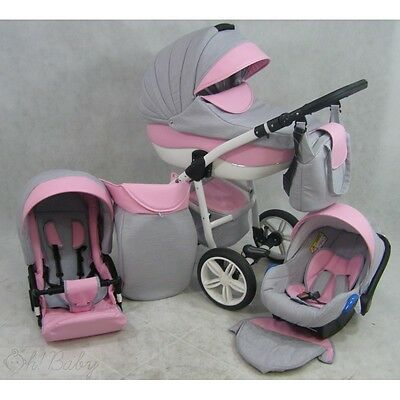 Pram Stroller Buggy Pushchair 3in1 - Modern Frame Alu Lokko II + Car seat