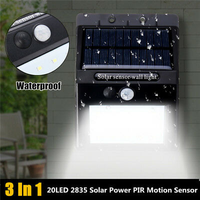 20 LED Solar Powered PIR Motion Sensor Wall Lights Security Outdoor Garden Lamp
