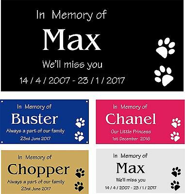 Personalised Pet Memorial Plaque Dog Cat Animal Engraved 12 x 6 cm Your wording