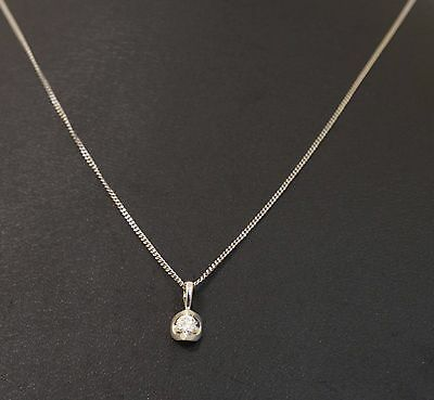 "9ct White Gold Diamond(0.10ct) Solitaire Pendant (4x4mm) W/ 18"" Curb Chain"