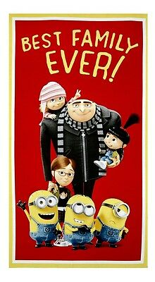 Minions Best Family Ever Quilt Panel * New * Free Post *