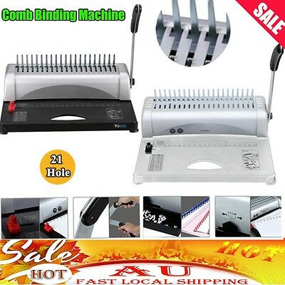 Pro Home Office Comb Binding Machine 21 Hole 450S Plastic Coil Punch Binder AU
