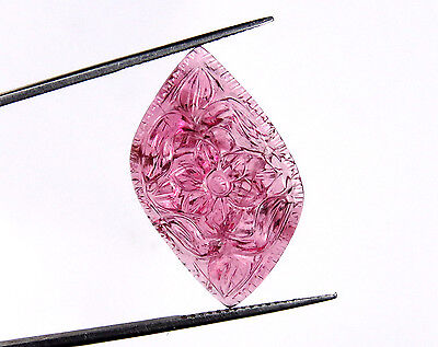 9.9 CTS Natural Pink Tourmaline Rubellite Carved Marquise Shape Flower Carving