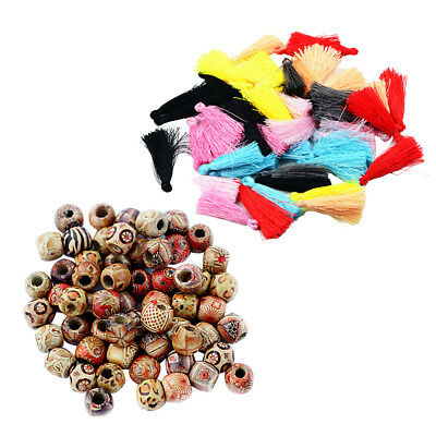 BOHO Wooden Beads Large Hole Spacer Silky Tassels DIY Bead Curtain Pendant