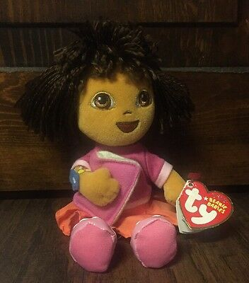 "Cute 2007 Dora the Explorer"" 7.5"" Beanie Babies Doll w/""Ty"" Tag"