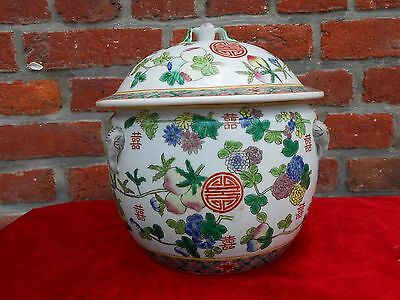 Chinese pottery porcelain covered jar.Pot.