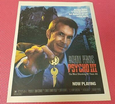 Vintage PSYCHO III 3 ANTHONY PERKINS Poster Print Ad RARE
