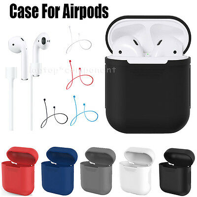 For Apple AirPod Earphones Silicone Shockproof Cover Case + Anti Lost Strap Wire