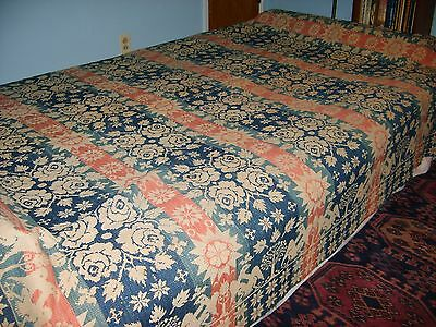 1840 Hand Woven Jacquard Coverlet With Eagles