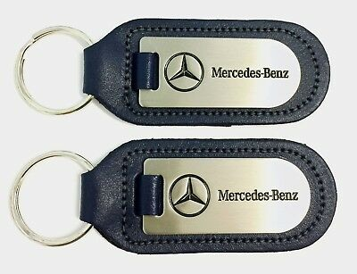 2 x Mercedes-Benz  Dealership Keyrings Dark Blue Leather & Stainless & Enamel