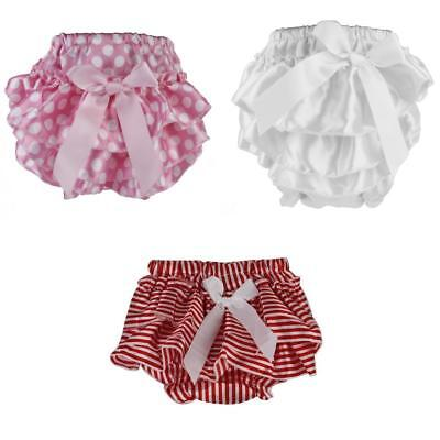 3pcs Cute Baby Kids Girls Ruffle Nappy Diaper Cover Dress with Bowtie Design