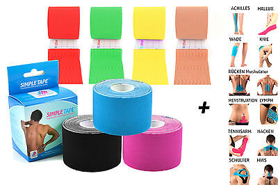 3 X Kinesiology Tape Simple Tape +12 Instructions - 5M in Various sparsets