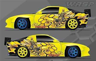Car Side Full Color Graphics Sticker en vinyle Custom Body Decal Attacking Wasp