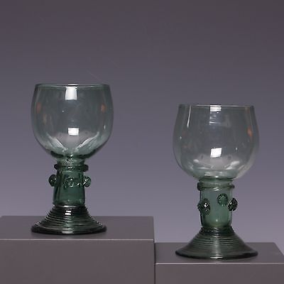 "Two nice Dutch or German green glasses ""Roemer"", 17th/18th century."