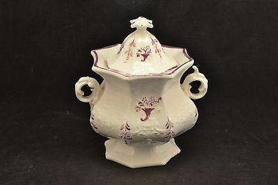 Antique English Pink Lustre Covered Sugar  ND3419