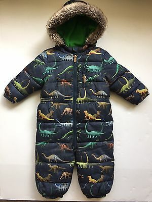 NEW Baby Boy Multi Dinosaur Print Fleece Lined Snowsuit Age 12-18 Months NEXT
