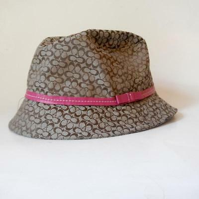 COACH Kids Girls Brown Bucket Hat Logo Pink Leather Trim Bow L/XL Large Extra