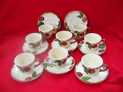 """Franciscan Earthenware """" APPLE"""" 8 Cups & saucers USA!"""