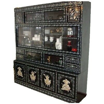 Vintage Asian China Cabinet Inlaid Mother Pearl Antique Black Lacquer Oriental