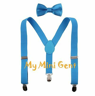 Boys' Suspenders and Solid Color Bowtie Set Size Fits Baby Boy 12m to 7 Years