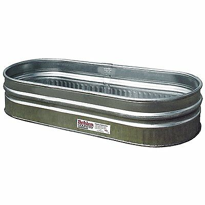 Galvanized Shallow Tub Rolled Steel Stock Tank Water 70 Gallon Trough Round End