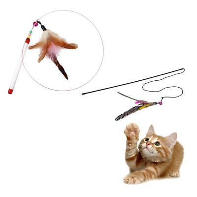 2xKitten Play Teaser Cute Cat Wand Interactive Fun Toy Pet Feather avec Bell