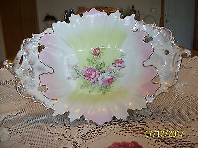 Reticulated Antique Porcelain China Scalloped Leaf Handpainted Pink Floral Large